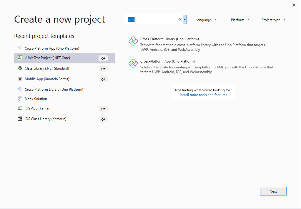 Visual Studio new project dialog searching for Uno